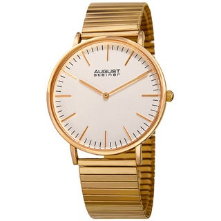August Steiner Men's Classic Quartz Stainless Steel Gold-Tone Bracelet Watch
