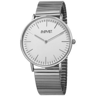 August Steiner Men's Classic Quartz Stainless Steel Silver-Tone Bracelet Watch