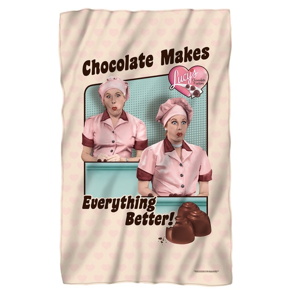 Lucy/Friends and Chocolate Fleece Blanket in White