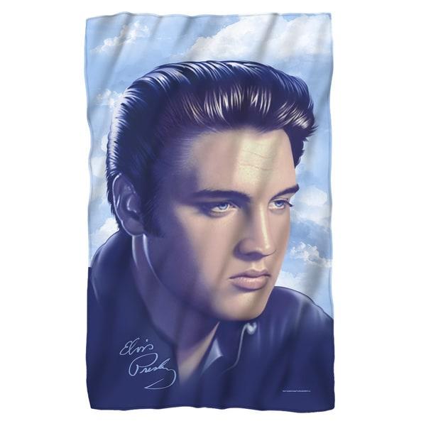 Elvis/Big Portrait Fleece Blanket in White