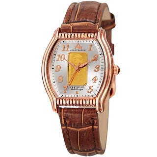 August Steiner Women's Quartz Luxury Gold Leather Brown Strap Watch