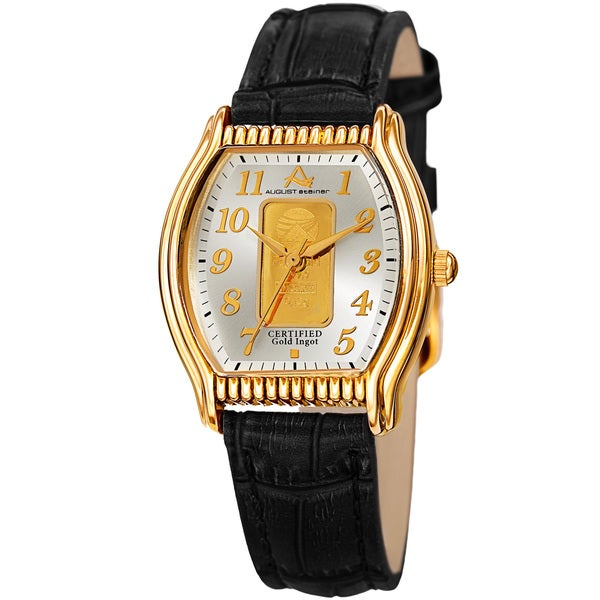 August Steiner Women's Quartz Luxury Gold Leather Black Strap Watch
