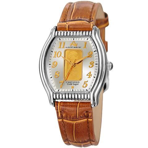 August Steiner Women's Quartz Luxury Gold Leather Tan Strap Watch