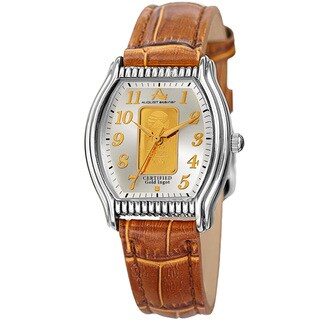 August Steiner Women's Quartz Luxury Gold Leather Tan Strap Watch