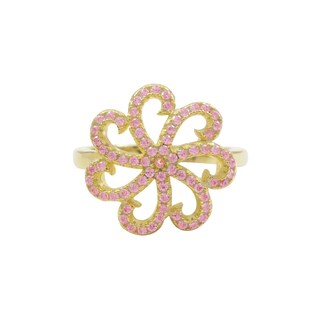 Gold Finish Sterling Silver Pink Cubic Zirconia Flower Children's Ring