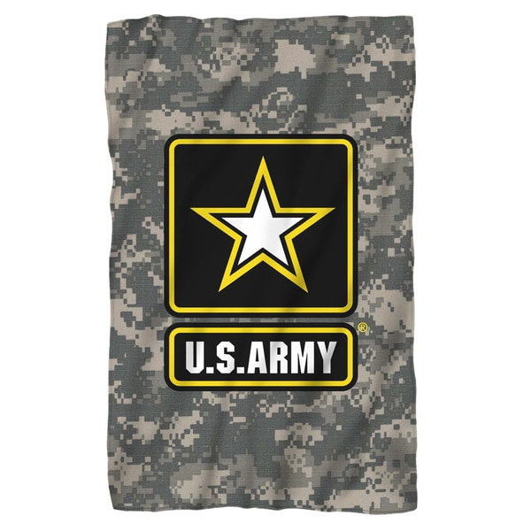 Army/Patch Fleece Blanket in White
