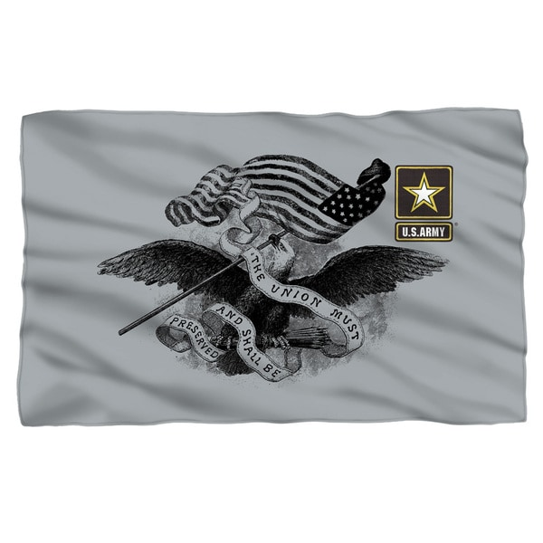 Army/Union Fleece Blanket in White