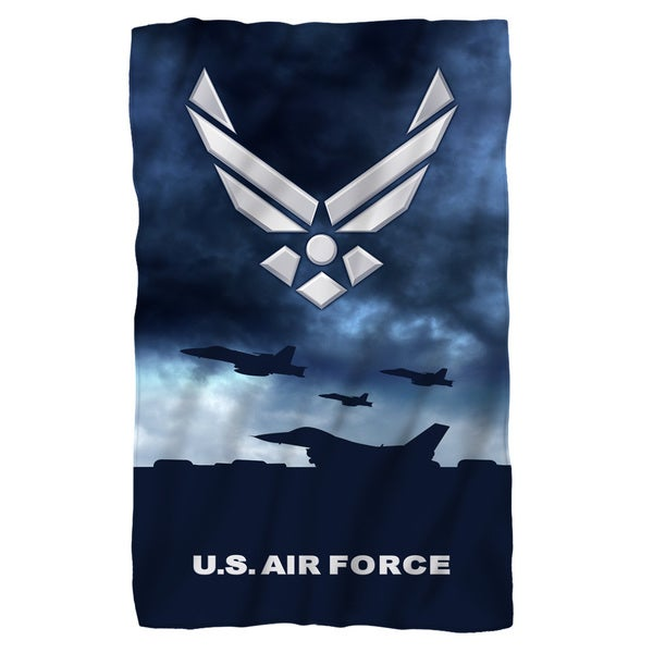 Air Force/Take Off Fleece Blanket in White