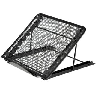 Black Aluminum Mesh Ventilated Adjustable Stand for Laptop/Notebook/iPad/Tablet