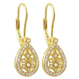 Gold Finish Sterling Silver Cubic Zirconia Teardrop Dangle Earrings
