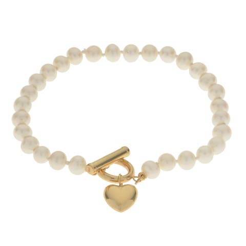 Pearls For You 14k Yellow Gold 5-5.5-millimeter White Freshwater Pearl with Yellow Gold Heart Bracelet