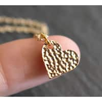 """Mint Jules Dainty 18k Gold Overlay Hammered Finish Heart Layering Necklace 18"""""""