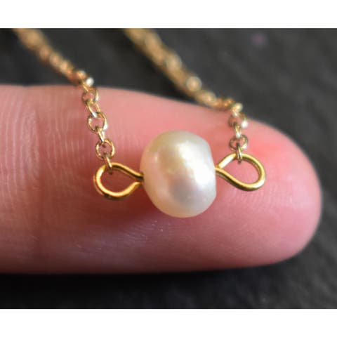 """Mint Jules Dainty Gold Single Freshwater Pearl Layering Necklace 18"""""""
