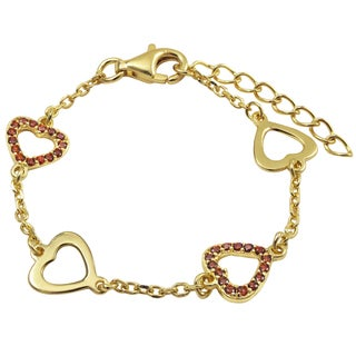 Gold Finish Sterling Silver Pave Red Cubic Zirconia Heart Children's Bracelet (Option: Up To 6 Inches)