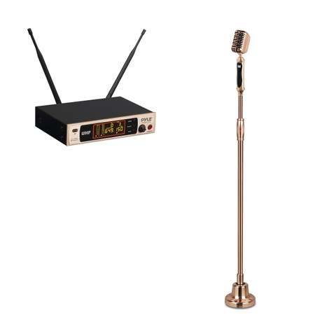 Pyle Gold Classic Retro Vintage Style Wireless Microphone System and Swing Stand