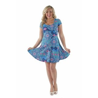 24/7 Comfort Apparel Women's Abstract mandala Pattern Plus Size Dress