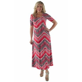 24/7 Comfort Apparel Women's Red Grey Zig Zag Maxi Plus Size Dress