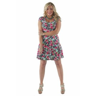 24/7 Comfort Apparel Women's aqua floral A-Line Plus Size Dress