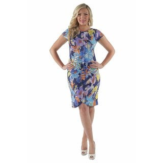 24/7 Comfort Apparel Women's Abstract Watercolor Plus Size Dress
