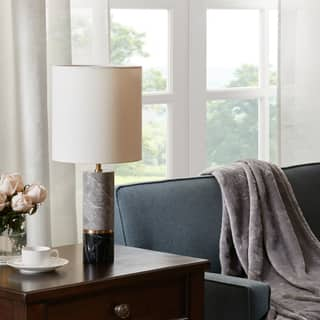 Grey marble table lamps for less overstock madison park signature weller blackgrey table lamp aloadofball Images