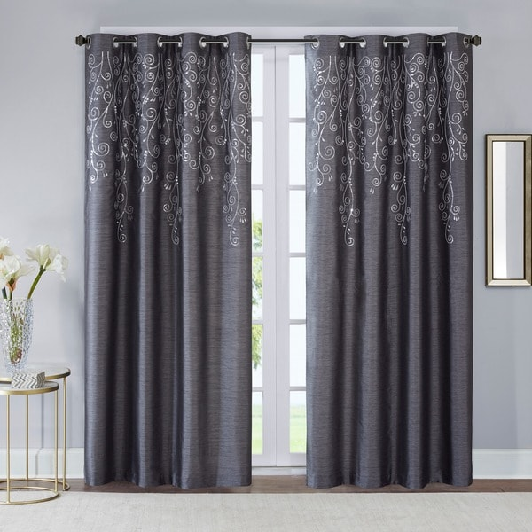 Madison Park Evelyn Sequined Embroidered Window Curtain Panel (Single)