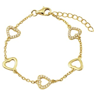 Gold Finish Sterling Silver Pave Cubic Zirconia Heart Children's Bracelet