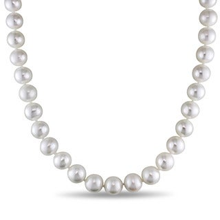 Miadora 14k White Gold Cultured Freshwater Pearl Strand and Diamond Accent 18 inch Necklace (10.5-11mm)
