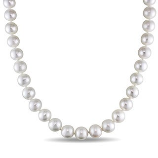 Miadora 14k White Gold Cultured Freshwater Pearl Strand and Diamond Accent 18 inch Necklace (11.5-12.5mm)