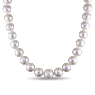 Miadora 14k White Gold Cultured Freshwater Pearl Strand and Diamond Accent 18 inch Necklace (12.5-14.5mm)