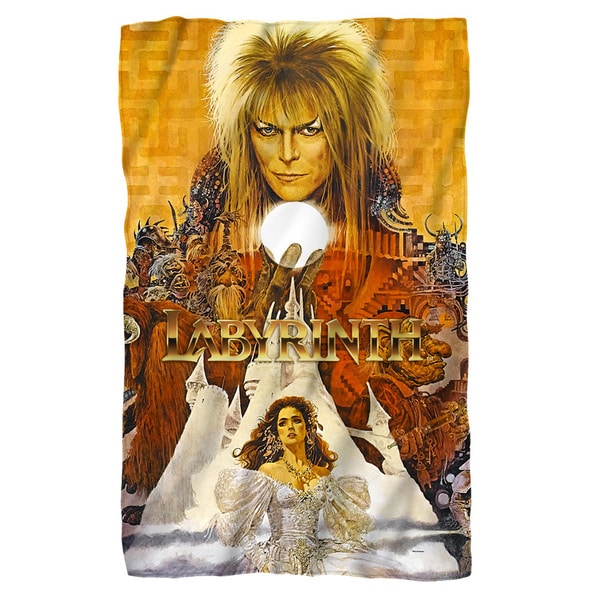 Labyrinth/Crystal Ball Fleece Blanket in White