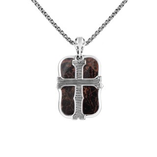 Stephen Webster 'London Calling' Sterling Silver & Jasper Dog Tag Pendant Necklace