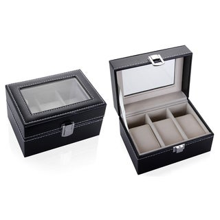 Leather Watch Box Case, Black - 3 Count