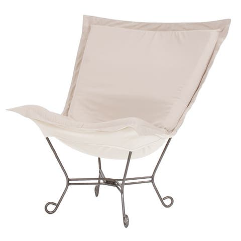 Scroll Puff Chair with Cover, Titanium Frame, Seascape Sand