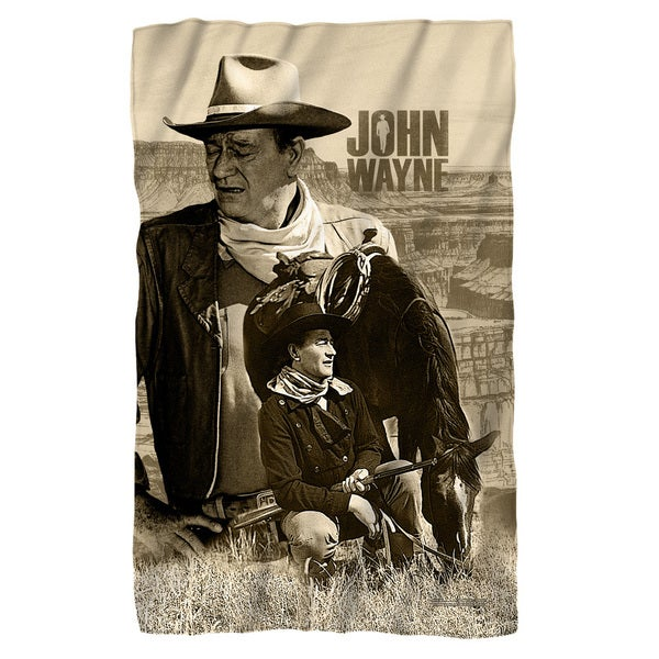 John Wayne/Stoic Cowboy Fleece Blanket in White
