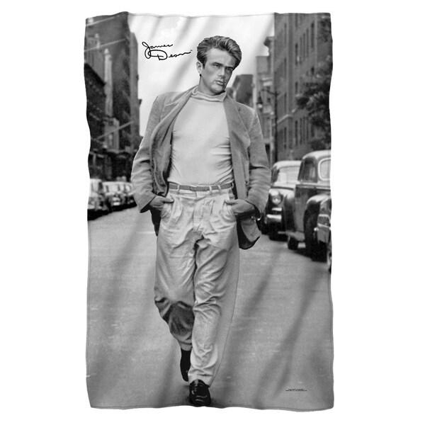 James Dean/Walk Fleece Blanket in White