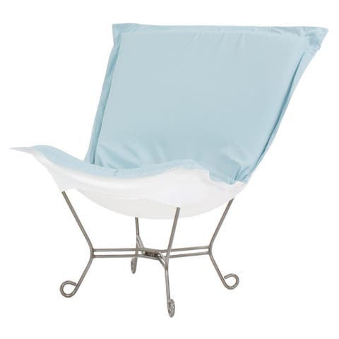 Scroll Puff Chair with Cover, Titanium Frame, Seascape Breeze