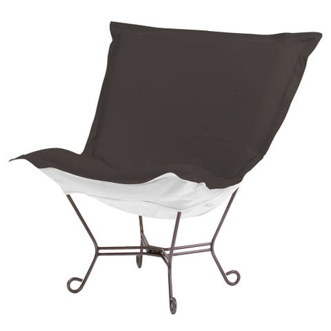 Scroll Puff Chair with Cover, Titanium Frame, Seascape Charcoal