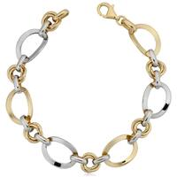 Fremada 14k Two-tone Gold Polish Curved Oval Link Bracelet (7.5 inches)