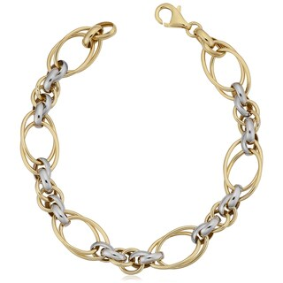 Fremada 14k Two-tone Gold Polish Double Oval Link Bracelet (7.5 inches)