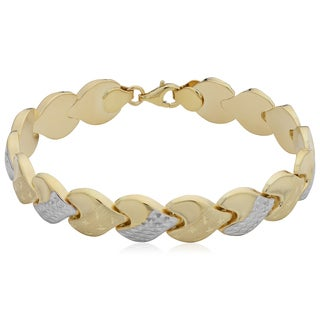Fremada 14k Two-Tone Gold 10mm Diamond-cut Heart Stampato Bracelet (7 inches)