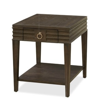 California Brown Wooden End Table with Drawer