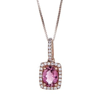 Anika and August 10kRose Gold Pink Tourmaline and 1/6ct TDW Diamond Pendant (G-H, I1-I2)