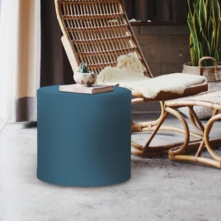 Seascape Turquoise Sunbrella No-tip Cylinder Indoor/Outdoor Ottoman