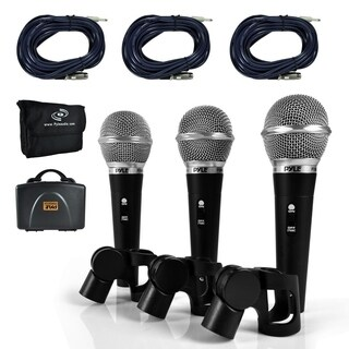 Pyle PDMICKT34 Dynamic Microphone Kit, (3) Professional Handheld Mics (Includes XLR Audio Cables)