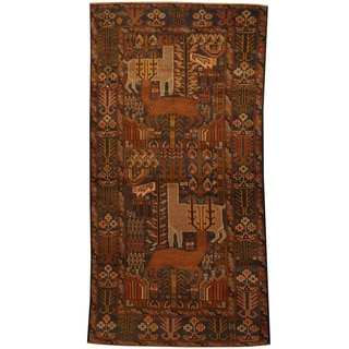 Herat Oriental Afghan Hand-knotted Tribal Balouchi Wool Area Rug (3'5 x 6'8)