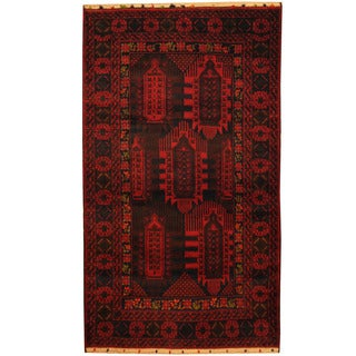 Herat Oriental Afghan Hand-knotted Tribal Balouchi Wool Area Rug (3'9 x 6'5)
