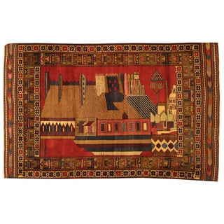 Herat Oriental Afghan Hand-knotted Tribal Balouchi Wool Area Rug (4'4 x 6'8)