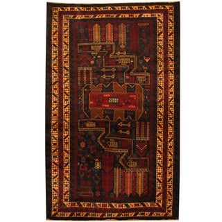 Herat Oriental Afghan Hand-knotted Tribal Balouchi Wool Area Rug (4' x 6'3)