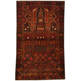 Herat Oriental Afghan Hand-knotted Tribal Balouchi Wool Area Rug (4' x 6'4)