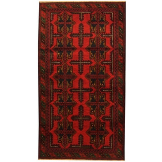 Herat Oriental Afghan Hand-knotted Tribal Balouchi Wool Area Rug (3'9 x 6'9)